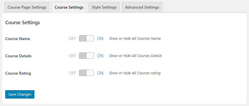 GS Course Settings