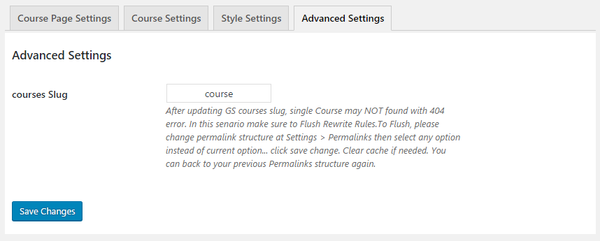 GS Course Advanced Settings