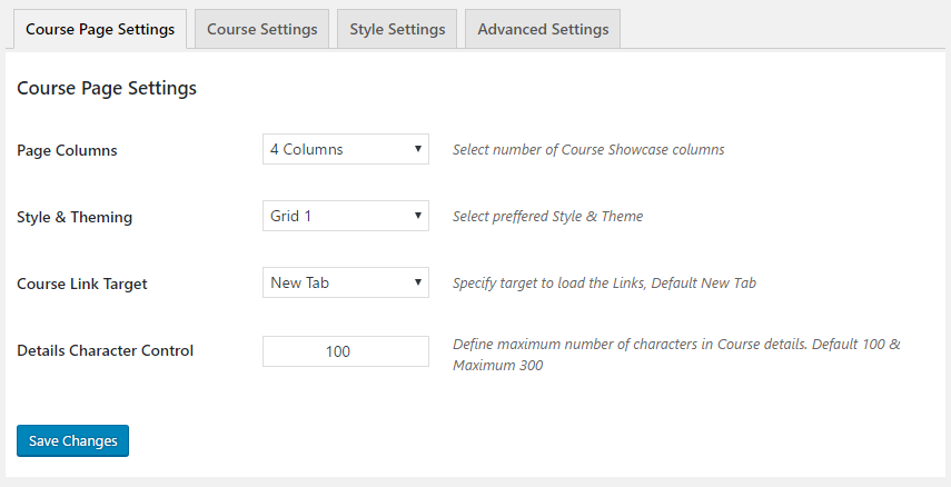 GS Course Page Settings