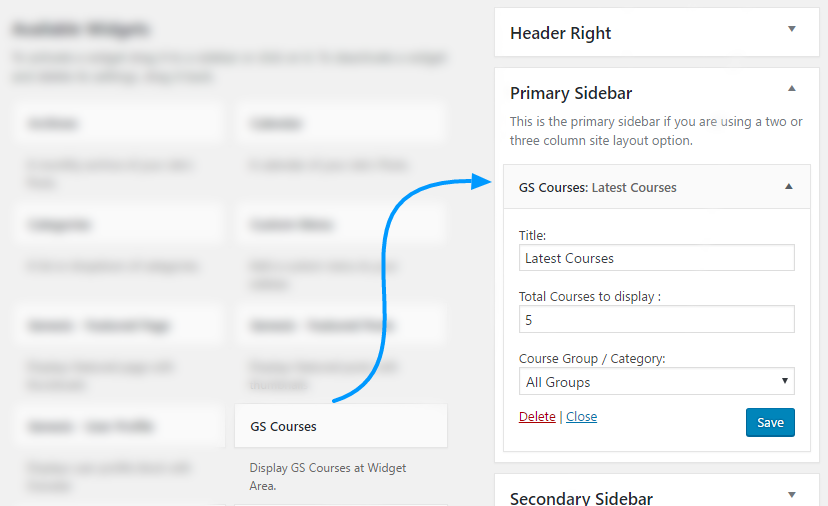 GS Course Widgets WordPress